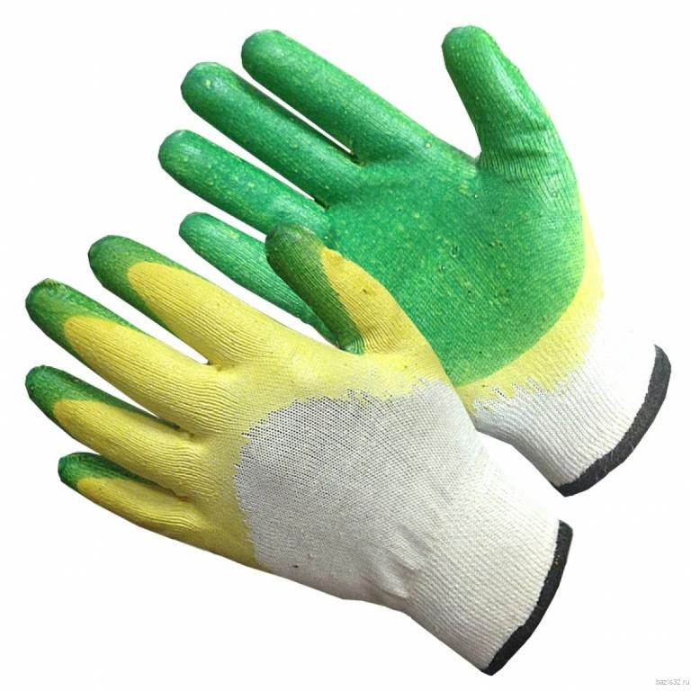 Перчатки рабочие х/б с двойной обливкой